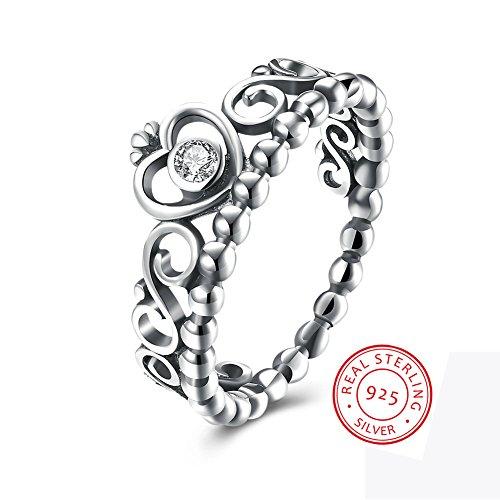 EnjoIt Fashion 925 Sterling Silver Crown Princess Diamond Ring Womens Love Rings