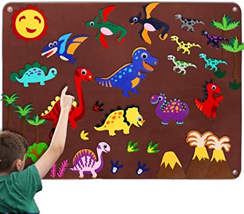 Craftstory Kids Dinosaur Flannel Felt-Board Stories Set for Toddlers Preschool Large Wall Hang Storyboard as Children Learning Storytelling Activity Play Kits