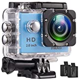 Action Camera FMAIS Full HD 1080P Waterproof Cam 2 Inch LCD Underwater 30m/98ft Diving 140° Wide-Angle Sports Camera 2 Rechargeable Batteries Mounting Accessories Kits(Blue)
