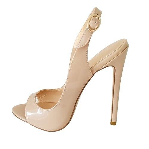 ELASHE - Scarpe da Donna - Peep Toe Slingback Sandali - Tacco a Spillo Con  Cinturino e8a8adb514b