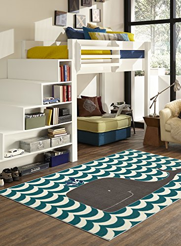 Mohawk Home Aurora Oh Whale Striped Waves Nautical Printed Contemporary Kids Area Rug,5 x8 ,Navy Blue
