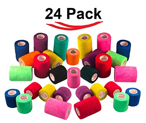 Prairie Horse Supply Vet Wrap Tape Bulk (Assorted Colors) (24 Pack) (2 Inches x 15 Feet) Vet Rap Medical First Aid Tape Self Adhesive Adherent for Ankle Wrist Sprains and Swelling