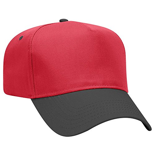 OTTO Cotton Blend Twill 5 Panel Pro Style Baseball Cap - Blk/Red