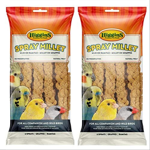 Higgins 2 Pack 6 Count Millet Spray for Birds 2 Bags Total, Fun Tasty Bird Treats Bird Snacks