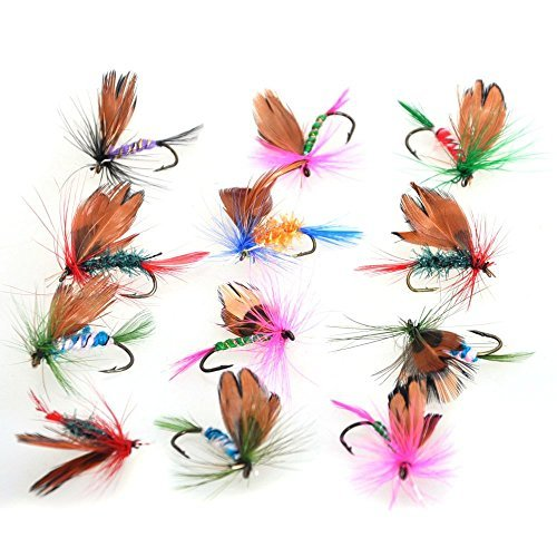 Bluenet 12pcs Fly Fishing Flies Set Butterfly Like Trout/bass Floating Fishing Lure Gamefish Kit