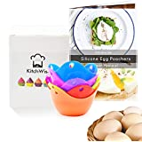 Silicone Egg Poacher Cups – 6 Pack BPA Free Poaching Pods – Microwave or Stovetop Egg Cooker