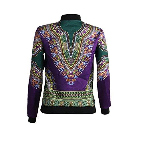 Women's Long Sleeve Vintage Traditional African Print Classic Baseball Short Biker Bomber Jacket Coat Purple, Medium by PrettySoul (Image #4)