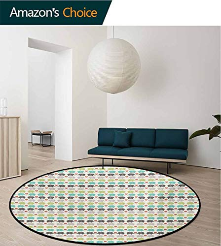RUGSMAT Baby Small Round Rug Carpet,Elephants in Love Valentines Hearts Adorable Silhouettes Little Trunks Adoration Door Mat Indoors Bathroom Mats Non Slip,Diameter-47 Inch Multicolor ()