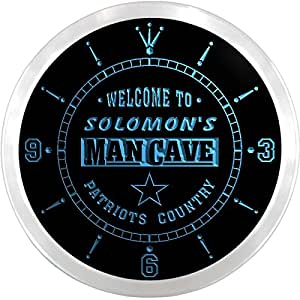 ncqf0605-b SOLOMON'S Man Cave Cowboys Patriots Country Bar Beer LED Neon Sign Wall Clock
