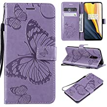 Ropigo Emboss 3D Butterfly Wallet Case for OnePlus 7 Flip Leather Protective Case with Wrist Strap,Magnetic Closure,Credit Card Slots Holder,Kickstand Function Purple