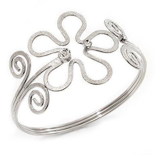 Rhodium Plated Textured 'Flower & Swirls' Diamante Upper Arm Bracelet Armlet - Adjustable
