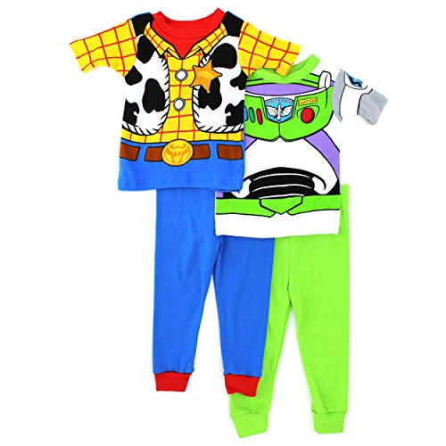 [Toy Story Woody Buzz Boys 4 pc Cotton Pajamas Set (8)] (Toddler Annie Costumes)