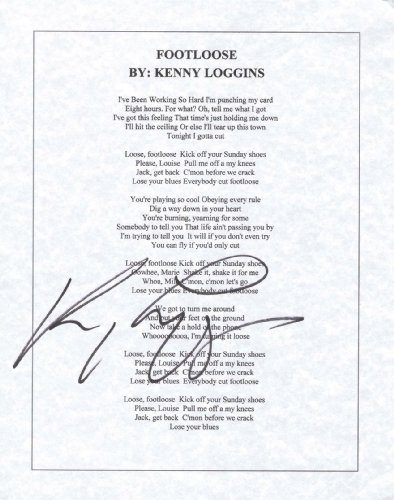 KENNY LOGGINS - Signed Song Sheet for