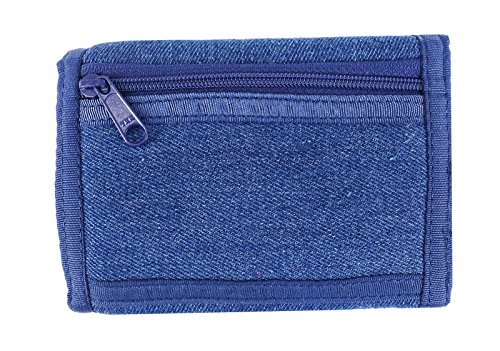 ROUGH ENOUGH Multi-functional Soft Demin Jean Canvas Vintage Fancy Casual Simple Trifold Slim Small Portable Wallet Purse Holder Organizer with Zipper for Kids Boys Teens on Sports Schools Navy Blue