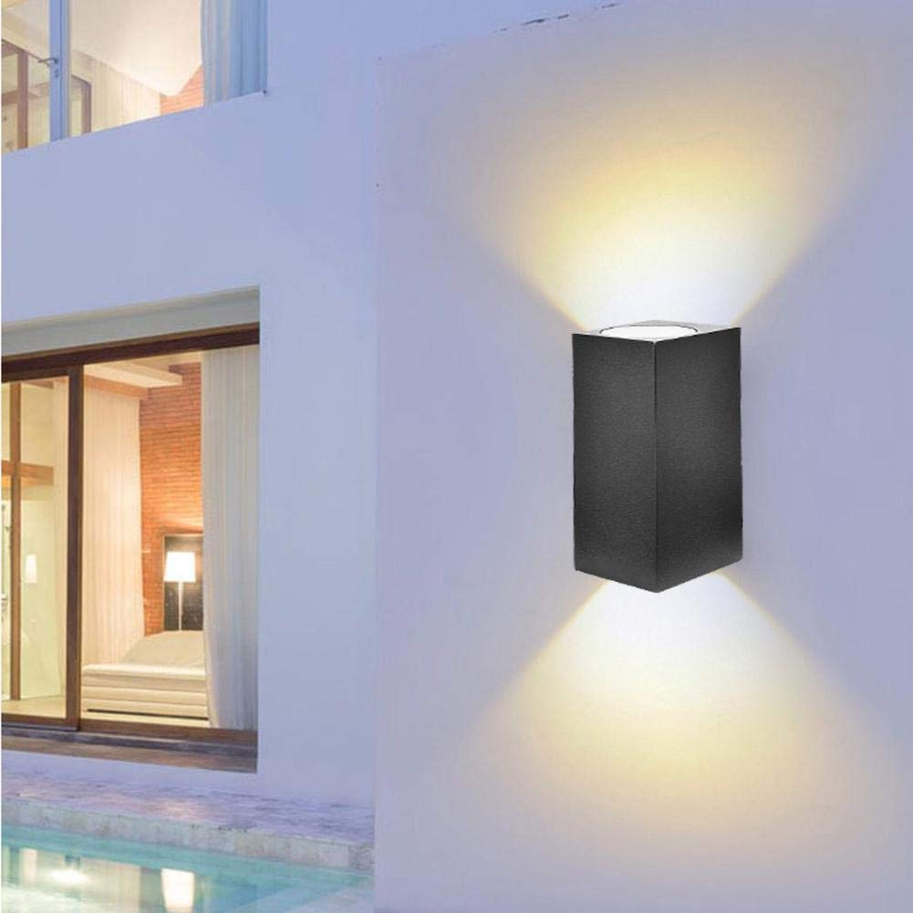 Calmson GU10 LED Wall Light Double Head Wall Lamp,Outdoor Square Wall Lantern, in Black Finish