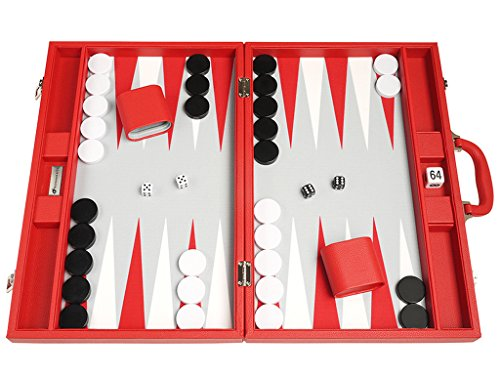 Red Leatherette Backgammon Set - 19-inch Premium Backgammon Set - Large Size - Red Board