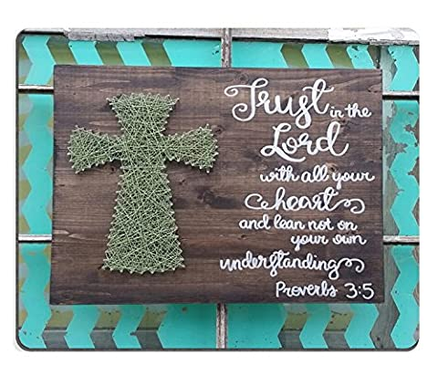Wknoon Cute Mousepad, Trust in the Lord Bible Verse Scripture Hand Painted Wood Cross Sign String Art Cross Proverbs 3:5, Customized Desktop Laptop Gaming Mouse (Gaming Laptop Top)