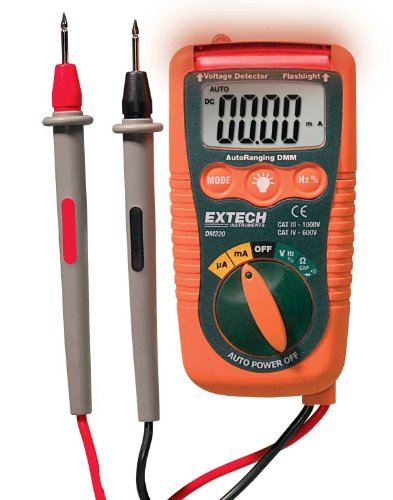 Extech DM220 CAT IV Mini Pocket MultiMeter with Non-Contact Voltage Detector (Mini Digital Multimeters Voltage Detector)