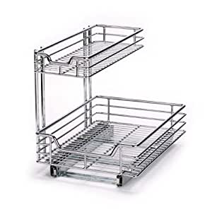 two tier kitchen drawer organizer glidez cabinet sink sliding organizer 8609
