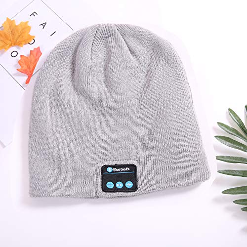 JDHDL Upgraded Unisex Knit Bluetooth Beanie Hat Headphones V4.2 Unique Christmas Tech Gifts Men/Dad/Women/Mom/Teen Boys/Girls Stocking Stuffer w/Built-in Stereo Speakers (Cream)