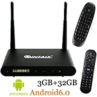 QINTAIX Q912 3GB RAM 32GB ROM Android 6.0 Tv Box Amlogic S912 Octa Core 2.4G/5G 802.11 acWifi 4K HDR Set Top Box Mini Media Player with Wireless Keyboard