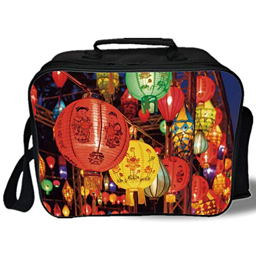 Lantern 3D Print Insulated Lunch Bag,International Chinese New Year Celebration China Hong Kong Korea Indigenous Culture,for Work/School/Picnic,Multicolor