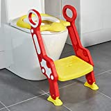 Toytexx Potty Toilet Seat Adjustable Baby Toddler Kid Toilet Trainer with Step Stool Ladder for Boys and Girls-Red-Yellow Pattern