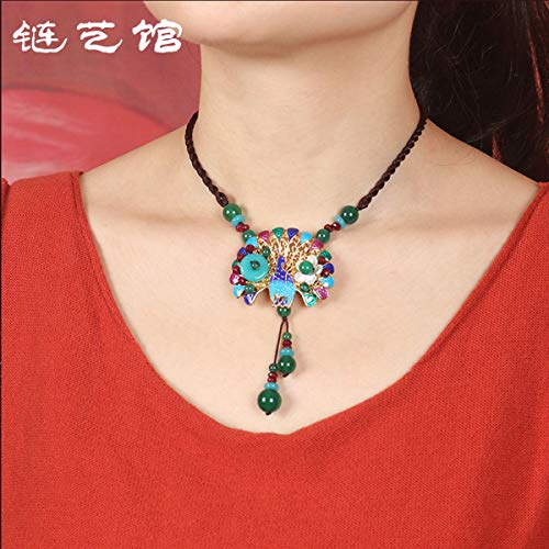 (Libaraba Colorful Cloisonne Peacock Flower with Agate Beads Tassels Pendant Rope Chain Necklace with Jewelry Box,Short Peacock Necklace for Women (Blue))