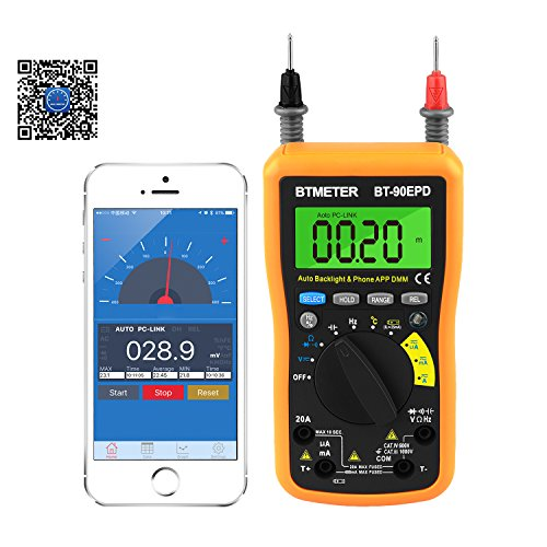 Multimeter BT-90EPD Auto Range Avometer DMM 4000 Counts With Mobile phone APP Bluetooth, Auto Backlight, AC & DC Voltage, AC & DC Current, Resistance, Cap, Hz, Duty Cycle, Temperature, Battery Test by BTMETER