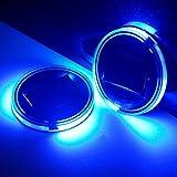 KINDAFLY 2-Pack LED Cup Holder Lights, 2.7-Inch Solar-Powered LED Light Cover Cup Holder Bottom Pad Cover Light Car Interior Decoration Universal Trimmed for Sedan, SUV,Truck,Camper