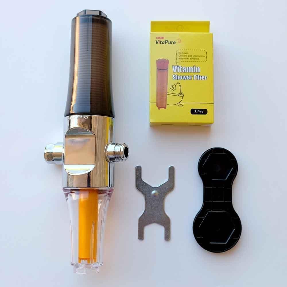 Sonaki Inline Shower Head Water Filter components