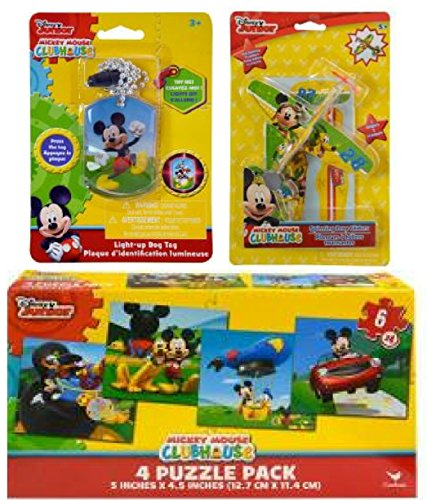 Disney Mickey Mouse Children's Gift Set includes Light-Up Dog Tag Necklace, 2 pk Prop Gilders Planes, and Puzzle Pack Including 4 Different 6 pc - Puzzle 2 Pack