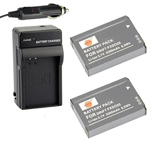 DSTE Replacement for 2X FXDC02 Battery + DC143 Travel and Car Charger Adapter Compatible Drift HD Ghost Sports Camera