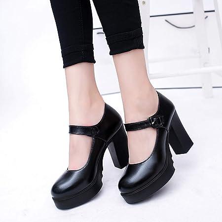 Zapatos de Tacón Alto Ancho Plataforma para Mujer Invierno Primavera 2019 PAOLIAN Zapatos Tacón Grueso Cuña Fiesta Elegantes Vestir Calzado de Trabajo de Piel Cuña Negros con Hebilla