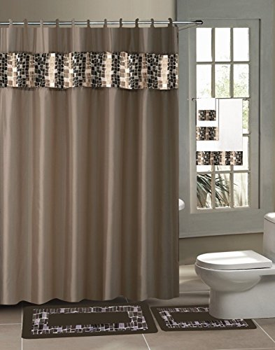 GorgeousHome 18 Piece Design Pattern Bathroom Set Includes 1 Shower Curtain
