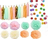 Kubert 35 pcs Tissue Paper Pom Pom Gold Tissue Pom Pom Paper Tassel Polka Dot Paper Garland for Baby Shower Decoration Wedding Nursery Decorations Bridal Shower