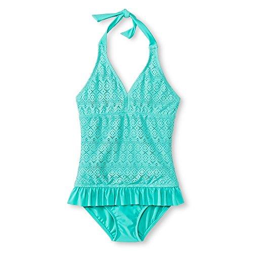 Xhilaration Girls' One-Piece Crochet Skirted Halter Swimsuit, Aqua - Size Small (2 Pack) (Up Xhilaration Cover)
