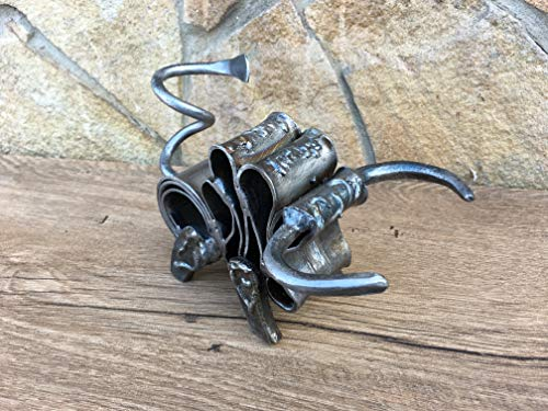 Hand forged bull, metal bull, bull sculpture, metal artwork, iron gift, iron sculpture, metal figurine, metal art, rustic iron decor