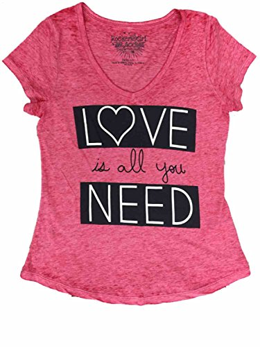 Heathered Black Rockers - Womens Red White & Black Love is All You Need Heathered Tee Shirt T-Shirt