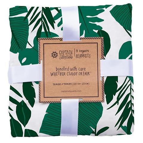 100% Bamboo Muslin Triple Layer Swaddle Blanket (Palm Leaf) Chenille Blanket Bundle