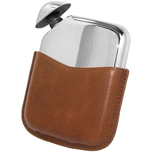Flask Design Hip (English Pewter Company Novus Flask - Luxury Pewter Liquor Hip Flask Contemporary Design with Genuine Leather Pouch [NOV01])