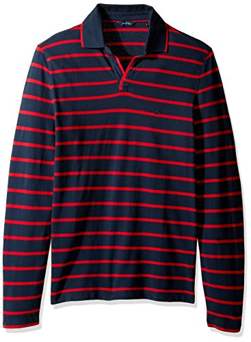 Nautica Men's Long Sleeve Stripe Johnny Collar Polo Shirt, True Navy, Large