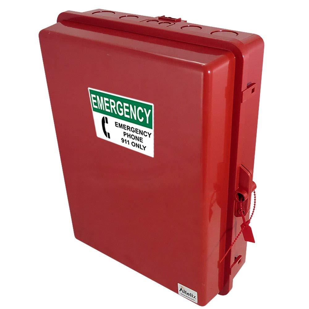 Altelix Red Outdoor Weatherproof Emergency Phone Call Box (14'' x 11.2 x 4.0'' Inside Space) Polycarbonate + ABS NEMA 3X