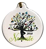 Yoga Tree Namaste 2018 Porcelain Gift Ornament Life Faith Love Peace Family Rhinestone Crystal