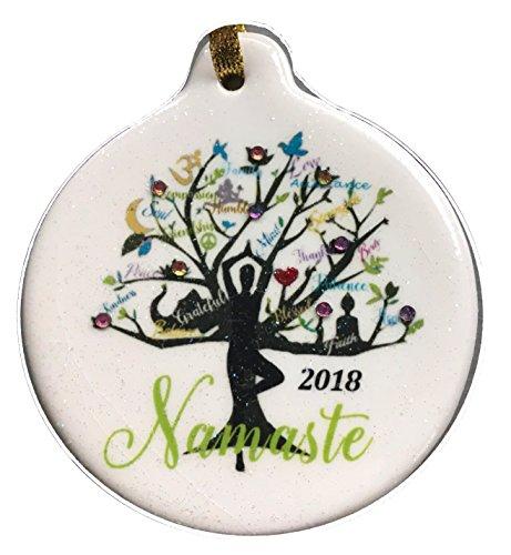 Yoga Tree Namaste 2018 Porcelain Gift Ornament Life Faith Love Peace Family Rhinestone Crystal (Namaste Ornament)