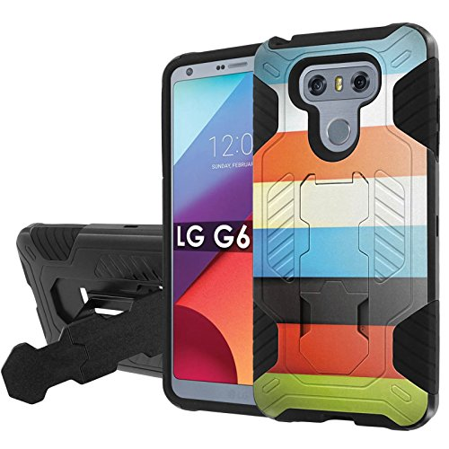 Lg G6 Phone Case  Nakedshield   Black Black  Total Defense Armor Case  Kickstand   Holster     Color Bars  For Lg G6  5 7  Screen Size