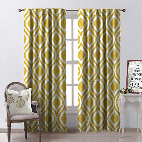 Pastel Classics Emerald Bay - Hengshu Mustard Window Curtain Fabric Symmetric Curved Lines Wavy Stripes Damask Hippie Retro Pastel Artful Kitsch Design Drapes for Living Room W84 x L84 Marigold