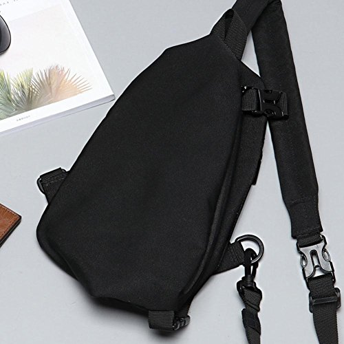 Canvas Teen Shoulder Zipper Packs Chest Crossbody Fanny Handbags Casual Men Widewing Black XOnfq0q