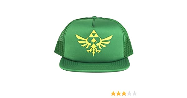 4ba9f3e481753 Amazon.com  Nintendo Legend of Zelda Logo Green Mesh Trucker Hat One Size   Clothing