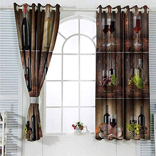 Paddy Benedict Decor Curtains by Wine,Grapes Meat Drink Collage Room Dark Bathroom Waterproof Curtain W55 x L45 inches